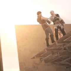 Ezio vraagt Manfredo naar zijn liefde voor Cristina
