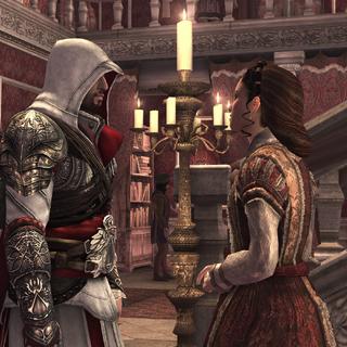 Ezio s'informant auprès de Claudia