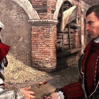 Ezio remettant la lettre codée à Machiavelli