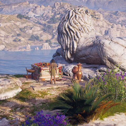 雕像旁的祭坛