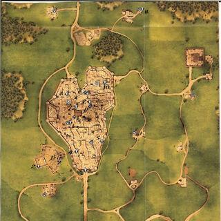 Een kaart van Toscane.
