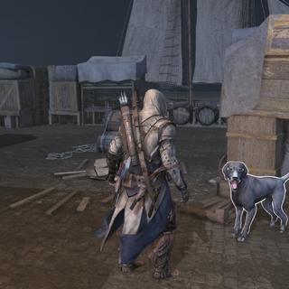 康纳站在一只警卫犬旁