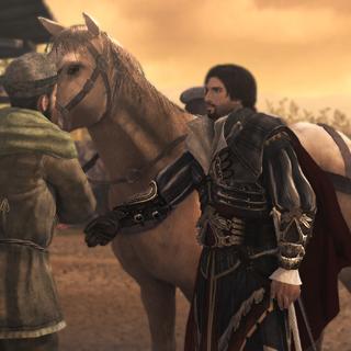 Ezio ramenant le cheval aux écuries