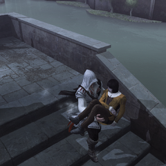 Ezio draagt Petruccio's lichaam