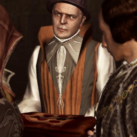 Lorenzo offre la <b>cape des Médicis</b> à Ezio