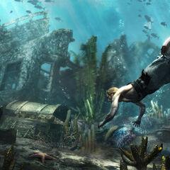 Edward is onder water op zoek naar een schat