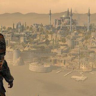 Ezio avec l'<b>armure d'Ishak Pasha</b> en contemplant Constantinople