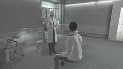 Vidic Desmond letto parlano laboratorio Abstergo
