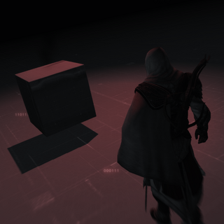 Ezio standing next to a cube inside a Cluster
