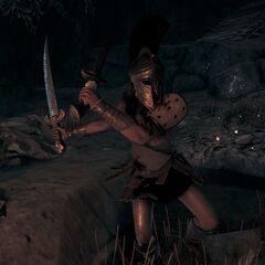 迪安涅拉在洞窟中战斗