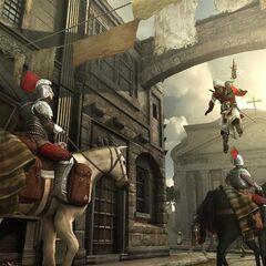 Ezio assassinant un cavalier depuis les toits