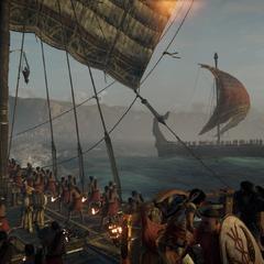 La trirème affrontant la flotte de Ptolémée