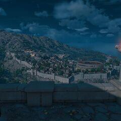 Bayek contemplant la cité de Cyrène.