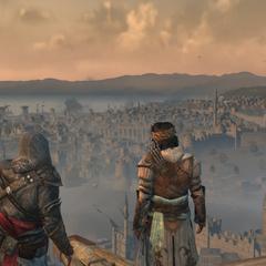 埃齐奥与优素福在加拉达塔上俯瞰君士坦丁堡