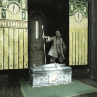 魏羽的雕像和石棺