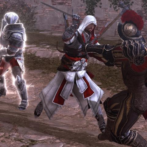Ezio affrontant le surveillant