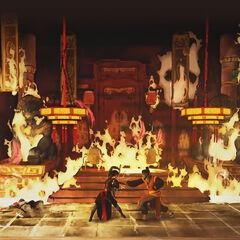丘聚和邵君在起火的宫殿中决斗