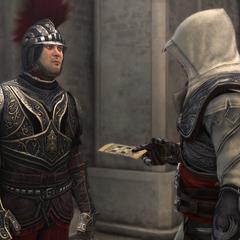Ezio remettant son invitation au garde