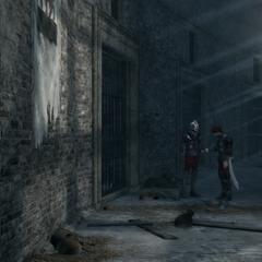 Ezio luistert de wachters af.