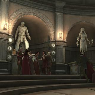 Ezio et les habitants empruntant le passage secret