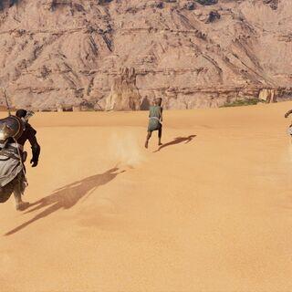 Bayek, Khemu, and Chenzira on their way to the ibex lair