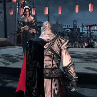 Teodora informant Ezio de ce qu'elle sait au sujet de Marco