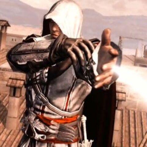 Ezio Auditore utilisant le <i>Pistolet caché</i>.
