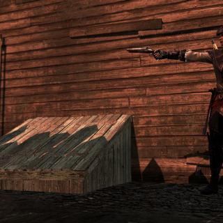 佩瑟絲被艾弗琳拿著槍瞄準著