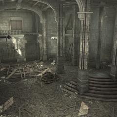 Une pièce du palais en ruines