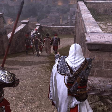 Ezio tirant sur le surveillant au <a href=