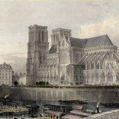 一副描绘巴黎圣母院的插画