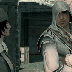 Ezio speaking with Rosa