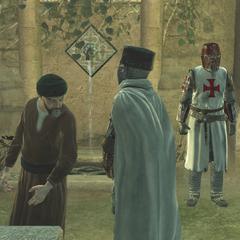 Maria alerting her allies to Altaïr's presence