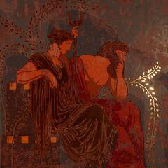 刻画珀耳塞福涅和哈迪斯形象的壁画
