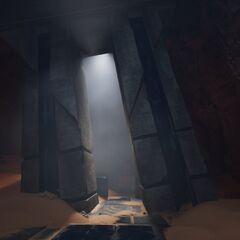 侧殿中被毁坏的拱门