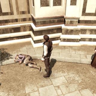Ezio se tenant en vainqueur face à Duccio