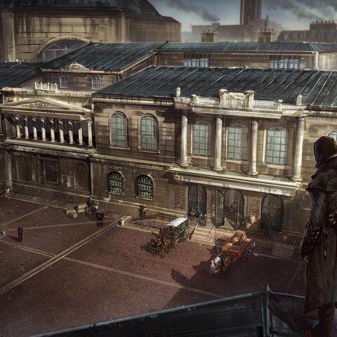 银行庭院的概念图