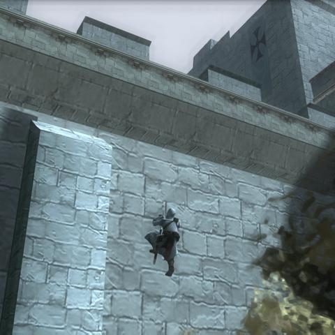 阿泰尔攀登城堡外墙