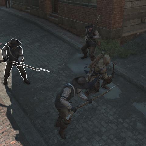 康纳面对一群装备刺刀的士兵