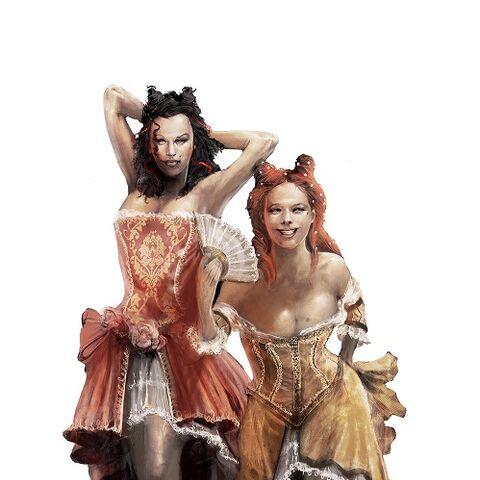 Concept art van de courtisanes.