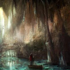艾芙琳乘木舟穿越地穴