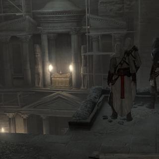 <b>Malik</b>, Altaïr et Kadar face à l'Arche d'Alliance