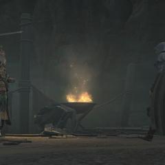 <b>Manuel</b> et Ezio s'appretant à combattre.