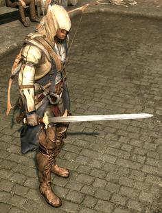 Connor trzymający miecz couteau (by Kubar906)