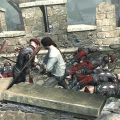 Ezio affrontant les soldats des Borgia