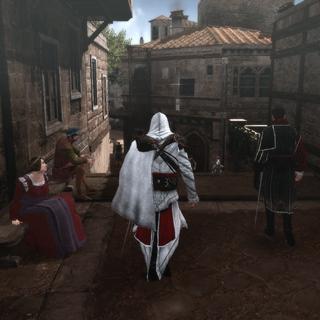 Ezio accompagnant Machiavelli dans les rues de Rome