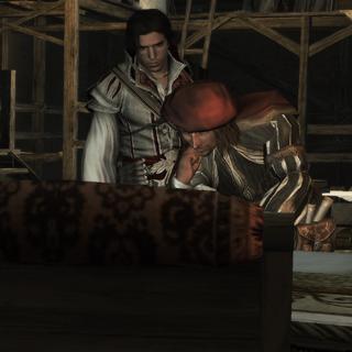 Ezio observant Leonardo en train de déchiffrer la page du Codex