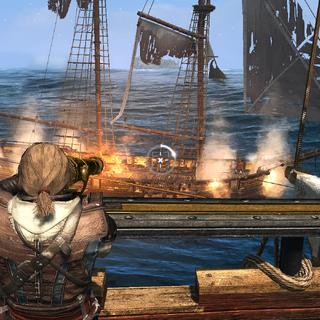 爱德华使用回旋炮向敌方船员开火
