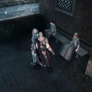 Ezio empoisonnant le premier administrateur