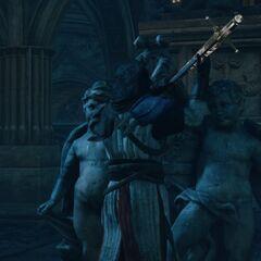 ...et plaçant l'épée dans le piédestal